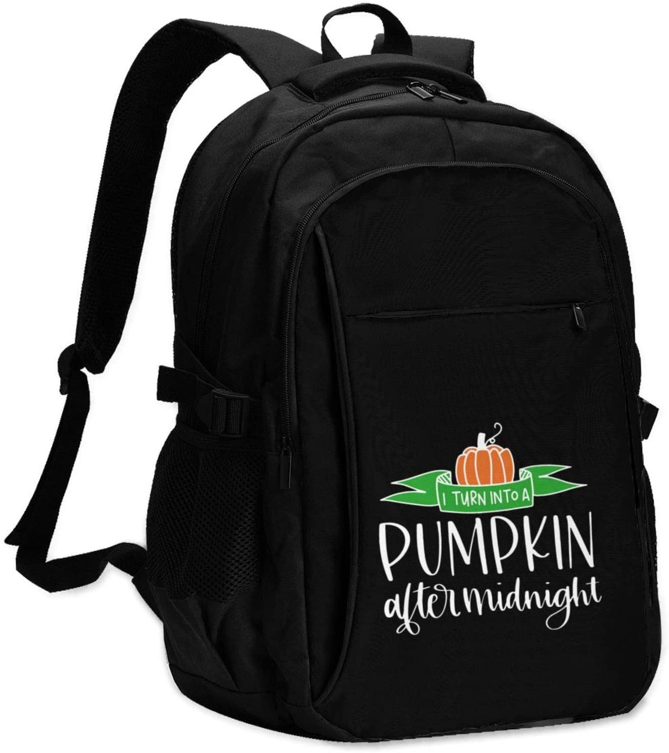 High Capacity Travel Laptop Water Resistant Anti-Theft Backpacks with USB Charging Port and Lock for Men Women College School Student Casual Hiking W/Print I Become A Pumpkin Pattern