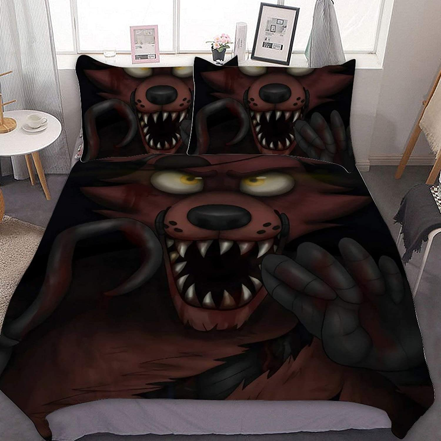 AYMAYM Five Nights at Freddy Bedding Set Three-Piece Bed Linens Duvet Cover Bed Sheet Pillowcase Twin Full Bed Especially Big Size 86x70in