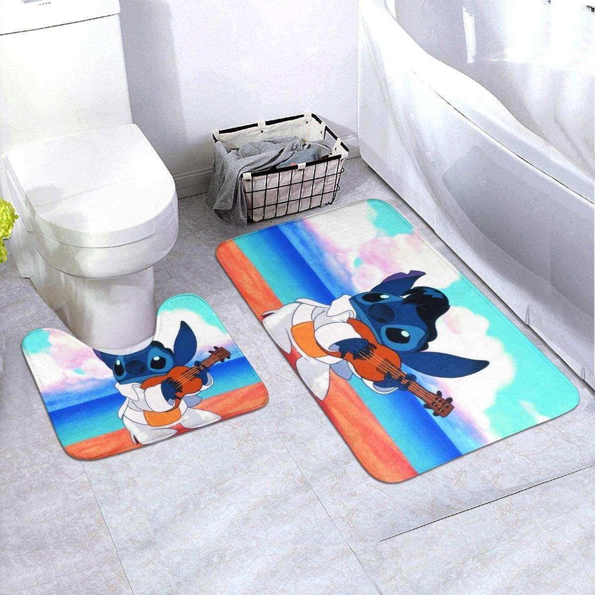 Lilo Stitch Bathroom Antiskid Pad Non-Slip Bath Carpet Floor Mat Rug 2 Pieces Toilet Blanket Mats 61 X 90 cm