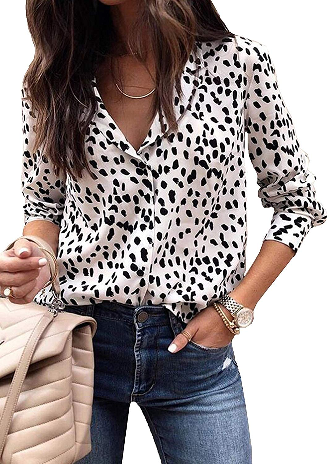 Women Leopard Print Tops -Casual V Neck Long Sleeve Button Down Shirt Knit Tunic Blouses