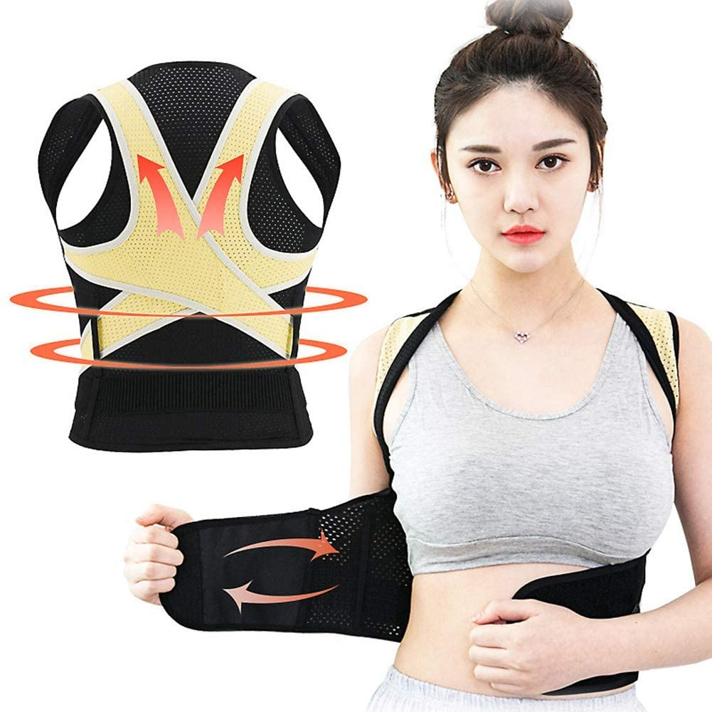 ZYJbf Posture Corrector Breathable Pain Relief Lumbar Upper Back Brace Straightener Shoulder Support with Adjustable Belt for Men and Women in Gym Outdoor Home and OfficeXL
