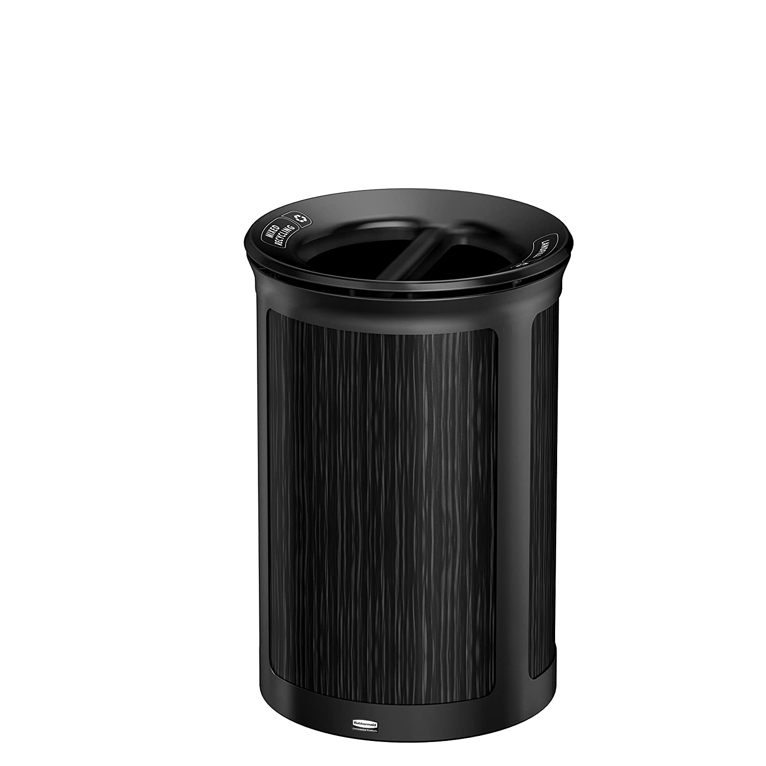 Rubbermaid Commercial Products 1970177 Enhance Trash Can, 2-Stream, 23 gal, Round, Jet Black Metallic/Ebony, 30.000