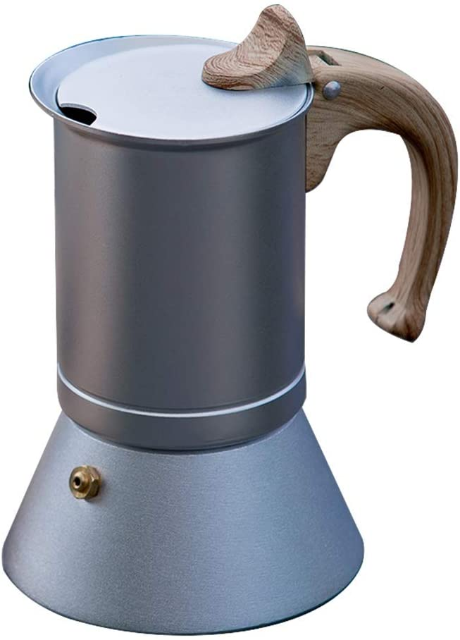 Mocha Pot Coffee Maker Nordic Moka Pot Edible Aluminum Espresso Machine Coffee Pot Coffee Utensils Stovetop Espresso & Moka Pots (Color : Silver, Size : 6 cup)