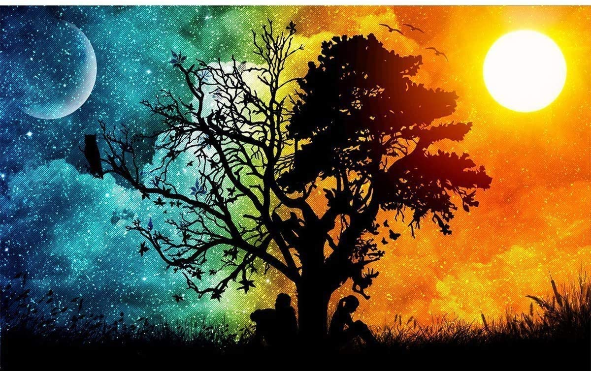 5D Diamond Painting by Number Kits for Adults,Full Drill Crystal Rhinestone Embroidery Pictures Craft for Home Wall Decoration 17.7×11.8 inches (Sun Moon Tree)