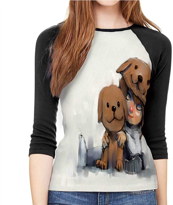 Cute Jumbo Animals - - Africa,Women's Shirt 3/4 Sleeve Casual Tops Tee S-XXL Singapore S