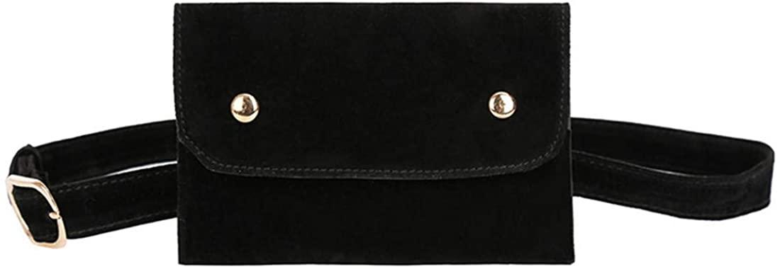 Andongnywell Velvet Fanny Pack Mini Waist Cellphone Wallet Bag Women Flap Belt Bag Ladies Bum Bags