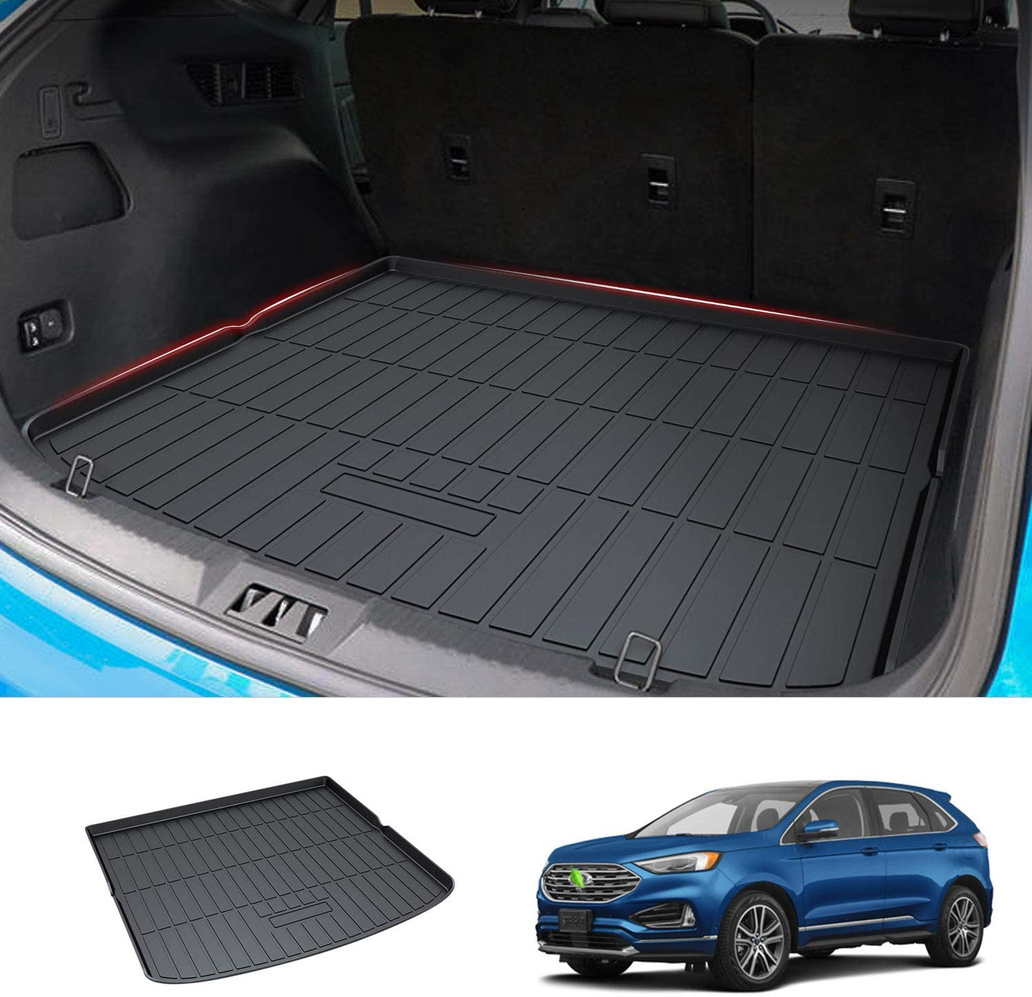 Mixsuper Cargo Liner for 2020 Edge TPO All Weather Rear Durable Odorless 3D Trunk Floor Mat Custom Fit for Ford Edge 5 Seats Only 2015-2019