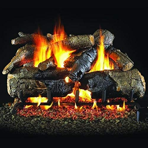 Peterson Real Fyre 24-Inch Charred American Oak Gas Log Set with Vented Natural Gas ANSI Certified G31 Triple-Tier Burner - Electronic On/Off Remote