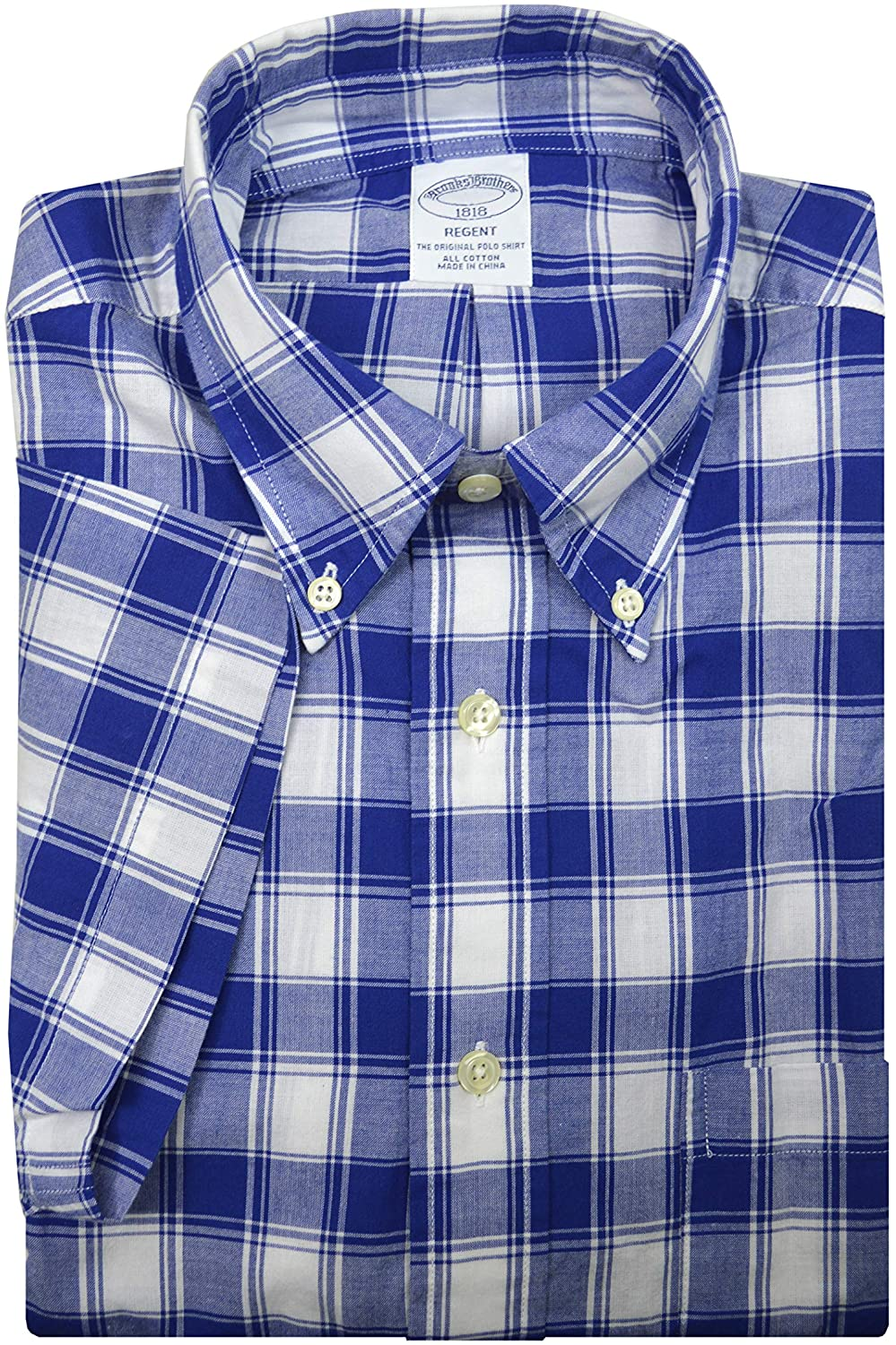 Brooks Brothers 65585 Regent Fit Floral Reverse Print S/S Button Down Shirt Blue Checked
