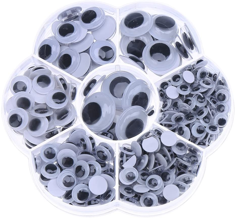 DECORA 1 Box 6mm/7mm/8mm/10mm/12mm/15mm/18mm Mixed Wiggle Googly Toy Eyes with Self Adhesive