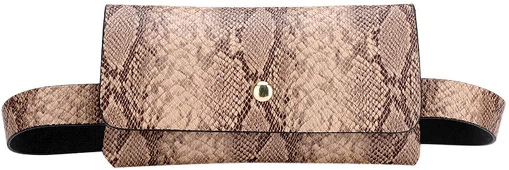 nightfall Small PU Leather Elegant Fanny Pack Belt Bag Purse Snakeskin pattern for Women Travel