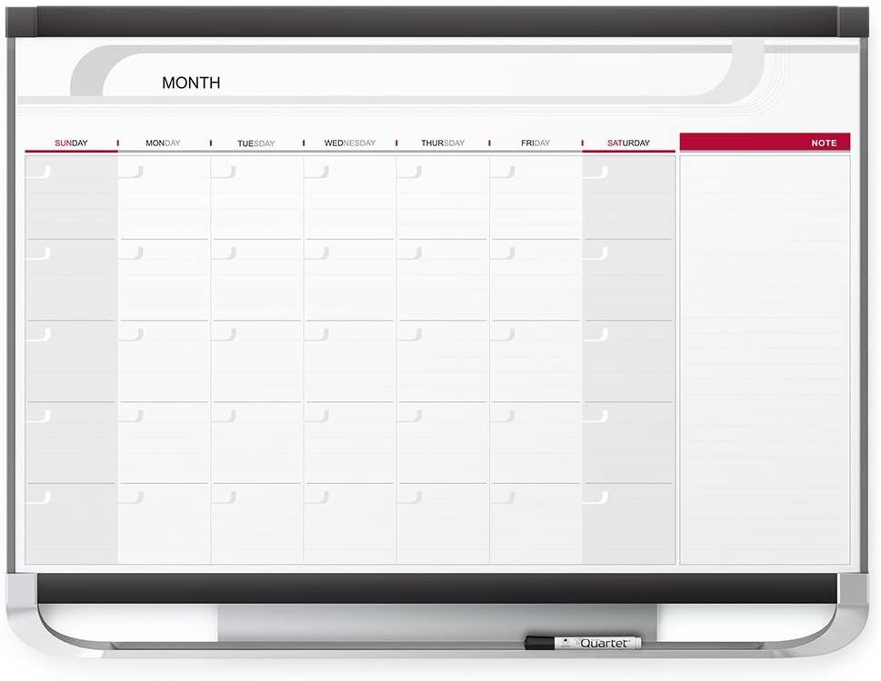 Quartet Dry Erase Calendar Board, Planner, Magnetic Whiteboard, 4' x 3', Monthly, Total Erase Surface, Prestige 2 (CP43P2)