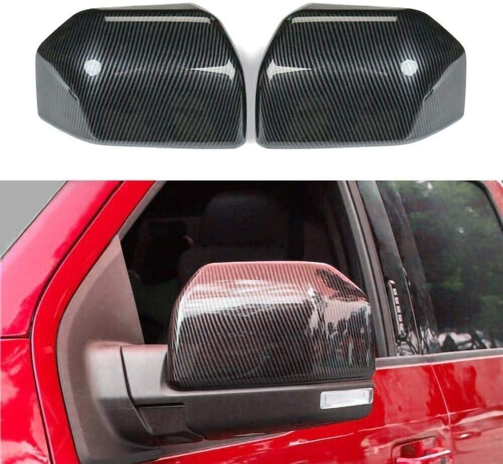 YSHG Safe 2pcs Wing Mirror Cover, Auto Car Rear View Side Mirror Cover,Trim Replacement Covers, for Ford F150 2015-2019 for Raptor ABS Carbon Fiber Style