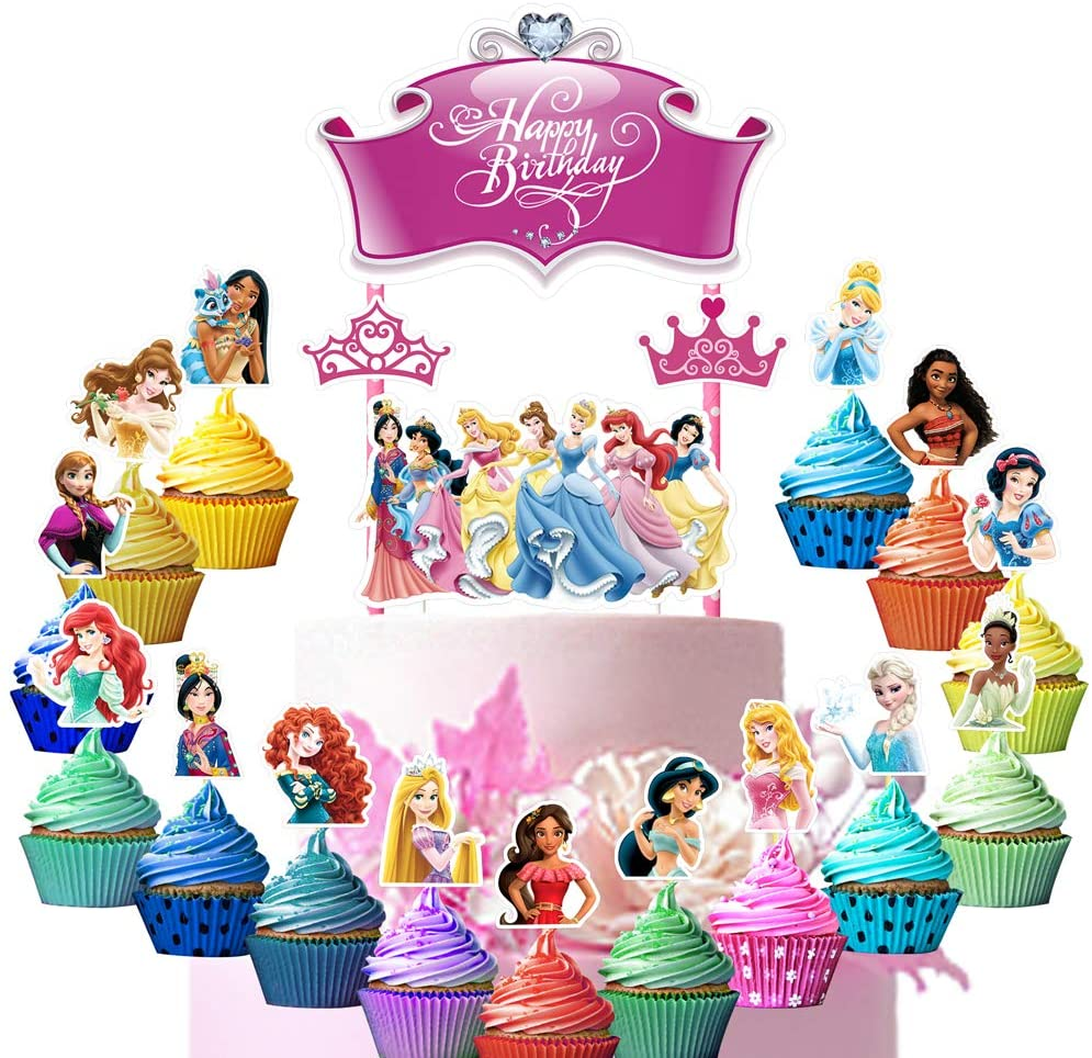 34 Decorations for Princess Cake Topper Cupcake Toppers Set Birthday Party Supplies Decor