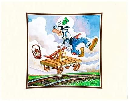 Theme Park Disney Artist Print Randy Noble Goofy On A Handcar