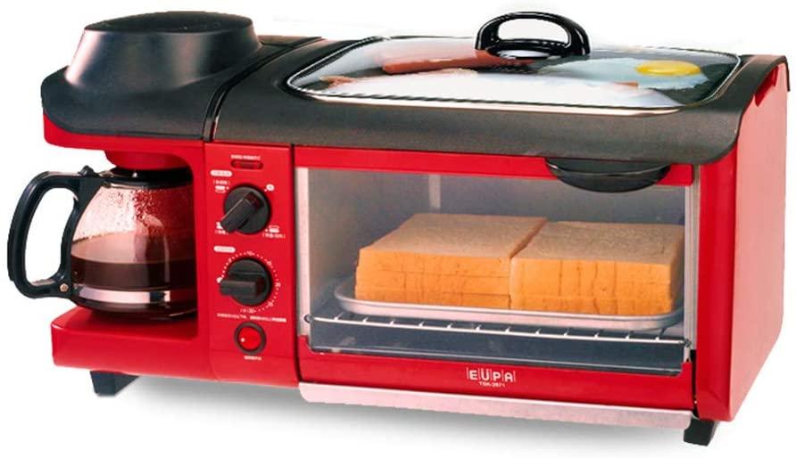 JLFTF 3-in-1 Breakfast Machine 600w Coffee Pot+700w Teppanyaki +900w Oven Bread Baking Maker Bread Toaster/Fried Egg/Coffee Cooker