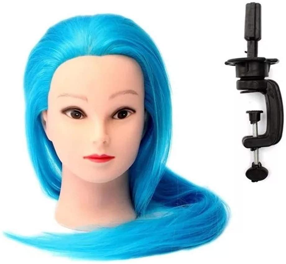 YADSHENG Mannequin Head Hair Styling Blue Synthetic Hair Hairdressing Braiding Training with Long Hair Mannequin Clamp Holder Hair Extensions (Color : Blue, Size : 51.2cm(Head Circum))