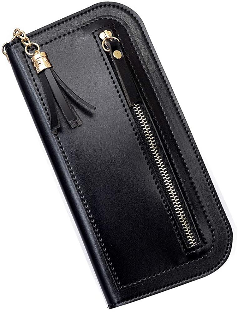 Ladies Long Bi-Fold Wallet, Zipper Soft Wallet, Thin Solid Color Tassel, 10 Card Slots, 7.2x3.7x0.27in