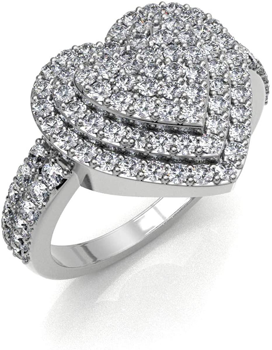 JewelsForum 2.00 Carat Diamond 14k White Gold Cluster Diamond Heart Engagement Ring for Women Art Deco Design Classic Wedding Anniversary Marriage Love Band