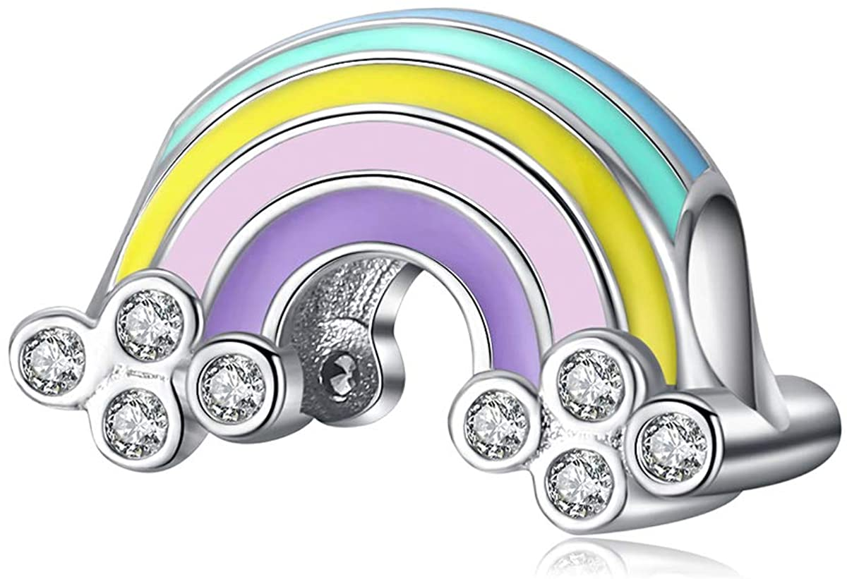 BAMOER 925 Sterling Silver Dazzling Daisy CZ Charm Bead for DIY Snake Chain Bracelet