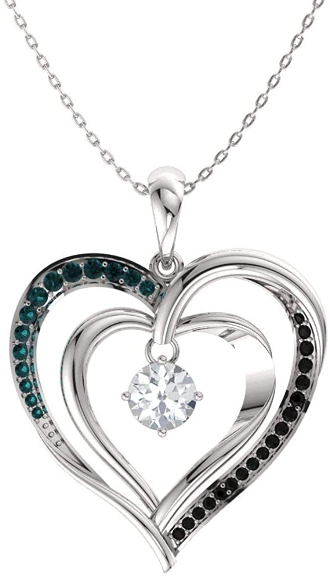 Diamondere Natural and Certified White, Black and Blue Diamond Double Heart Necklace in White Gold | 0.33 Carat Pendant with Chain