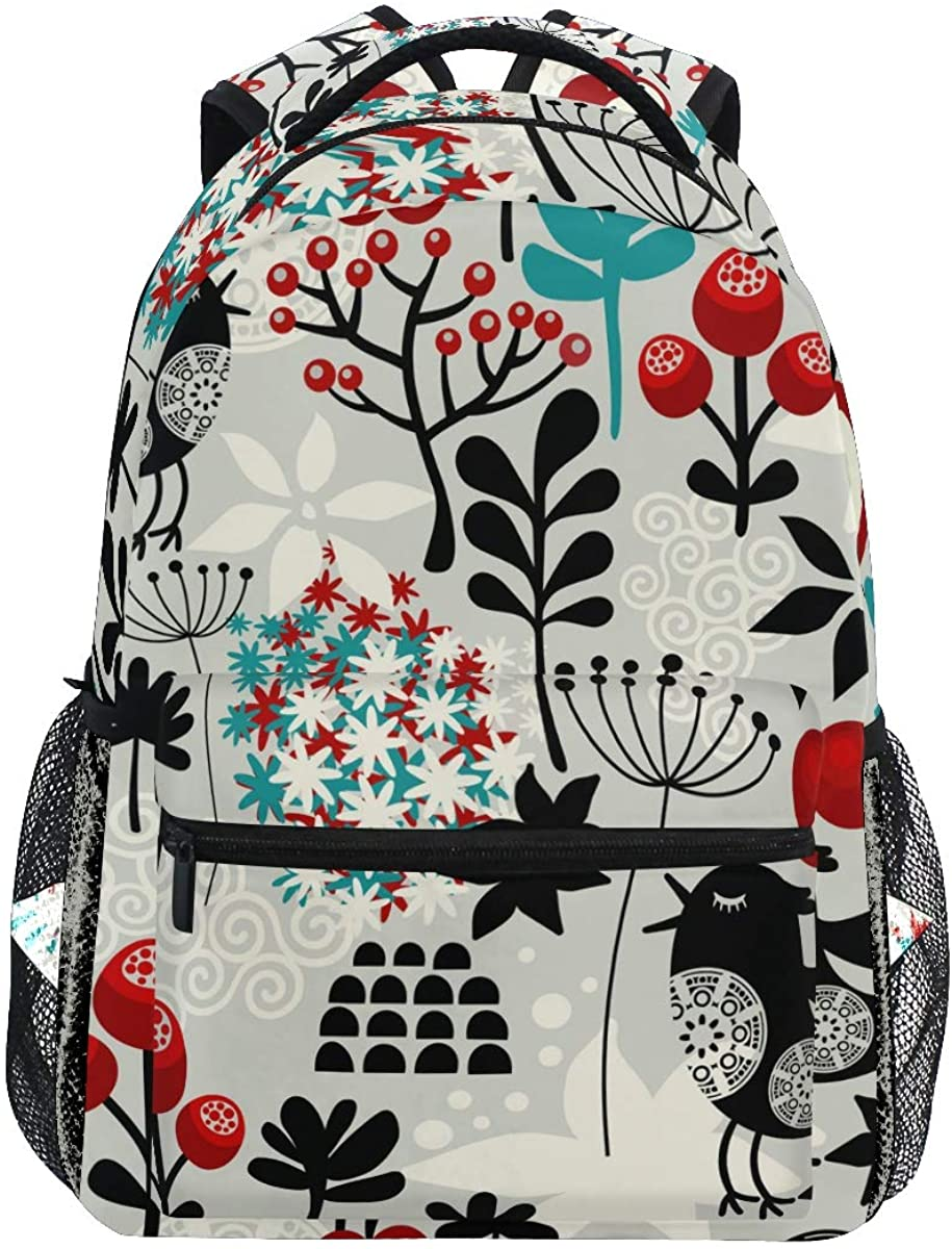 EELa Backpack Floral Cute Birds Flowers Resistant Casual Hiking Travel Camping Daypack for Teen Boys Girls Man Women School Bookbag Laptop Bag