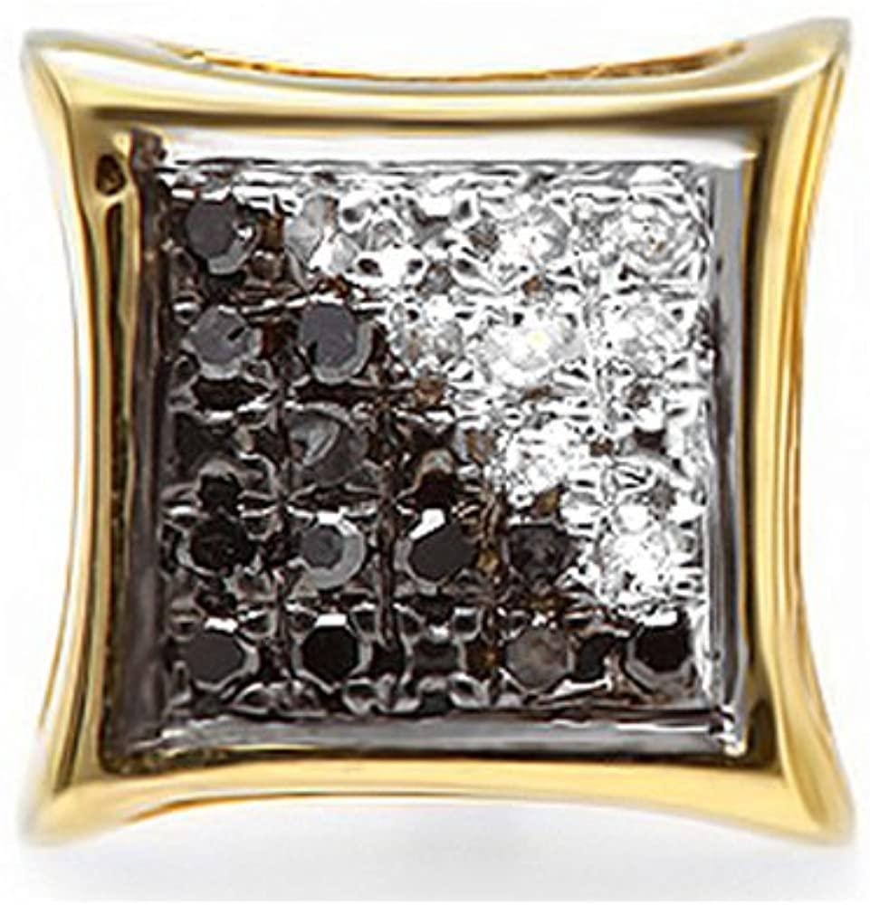 Dazzlingrock Collection 0.05 Carat (ctw) 10K White & Black Diamond Micro Pave Kite Shape Stud Earring (1pc), Yellow Gold