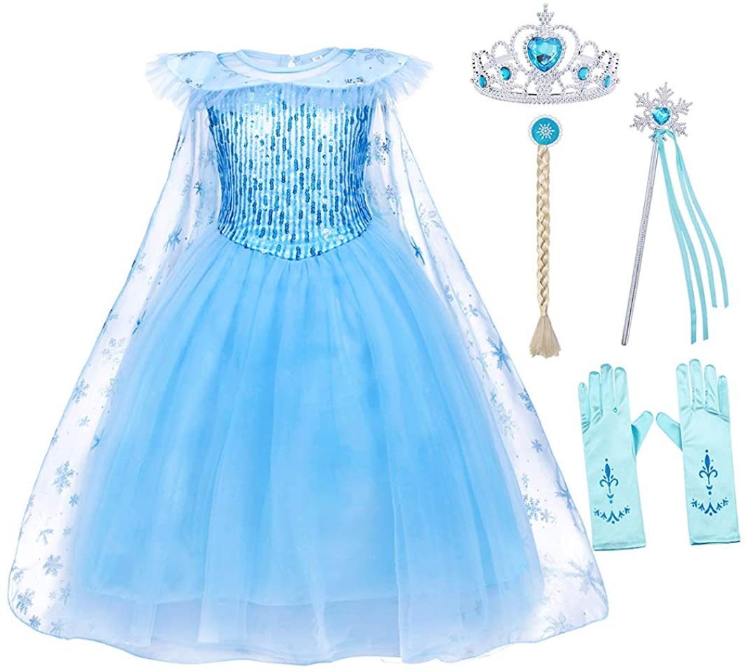 AmzBarley Princess Dresses for Girls Halloween Outfits Birthday Theme Party Cosplay Dress Up Snowflake Tulle Clothes