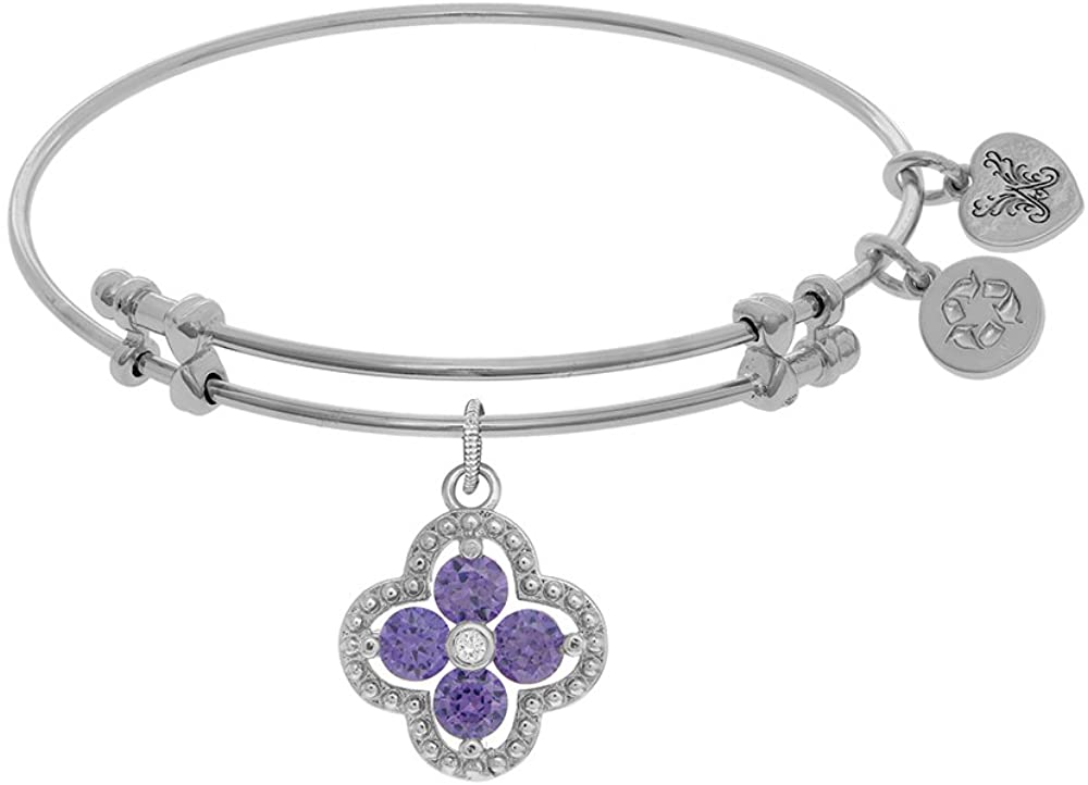 Angelica Collection Brass with White Charm with Purple+White CZ On White Bangle