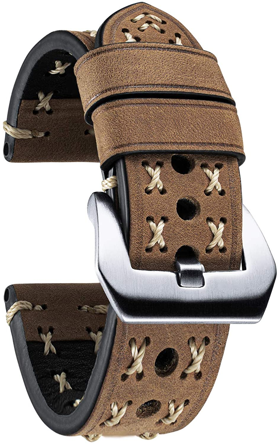BINLUN Replacement Watch Strap Handmade Thick Flexible Oil Top Grain Leather Strap in 4 Sizes(20/22/24/26mm) and 6 Colors with 2-Colors Stainless Pin Buckle and X Type Thick Line
