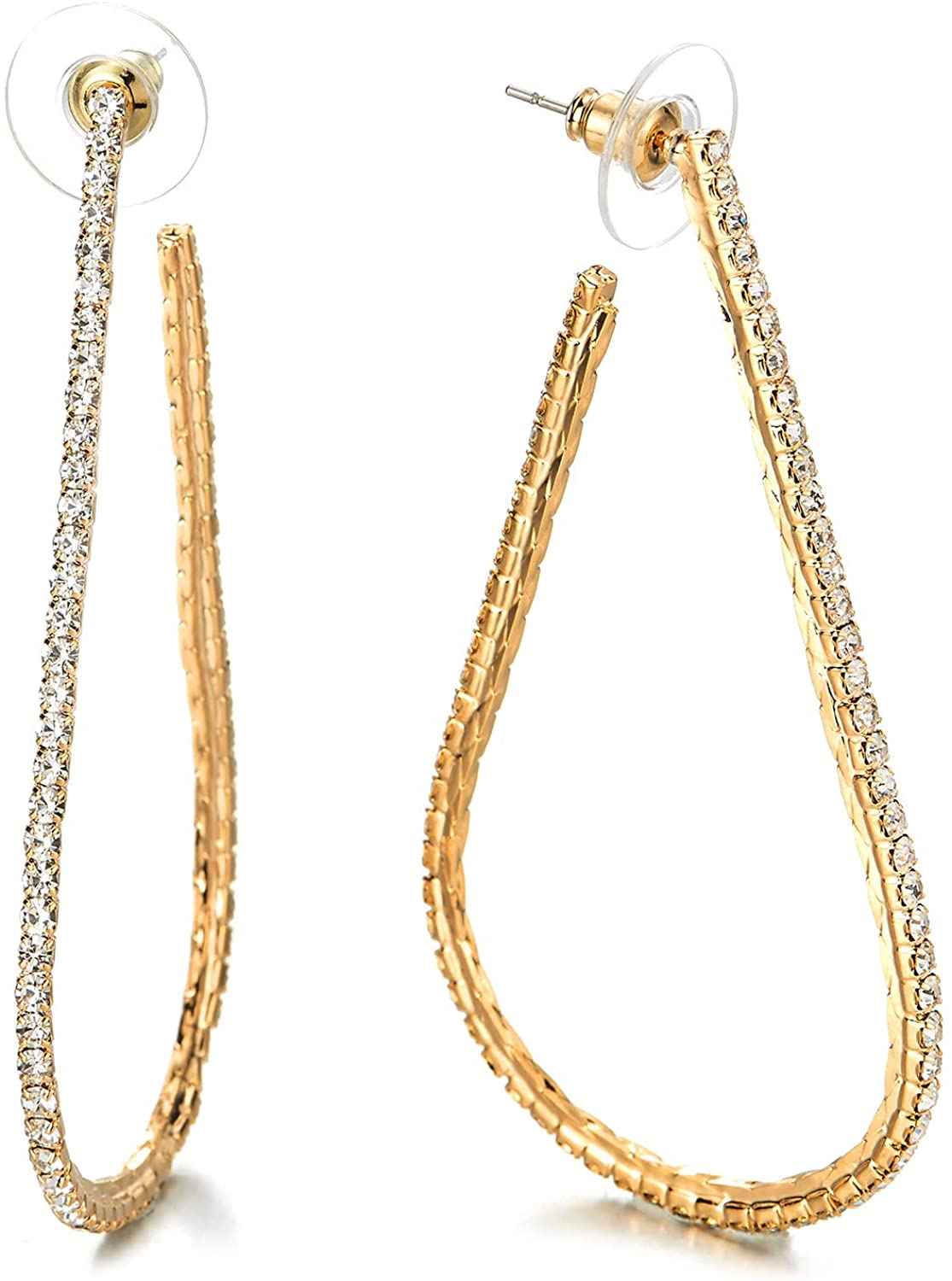 Large Gold Color Teardrop Statement Huggie Hinged Hoop Earrings with Rhinestones Fashion Bridal Prom