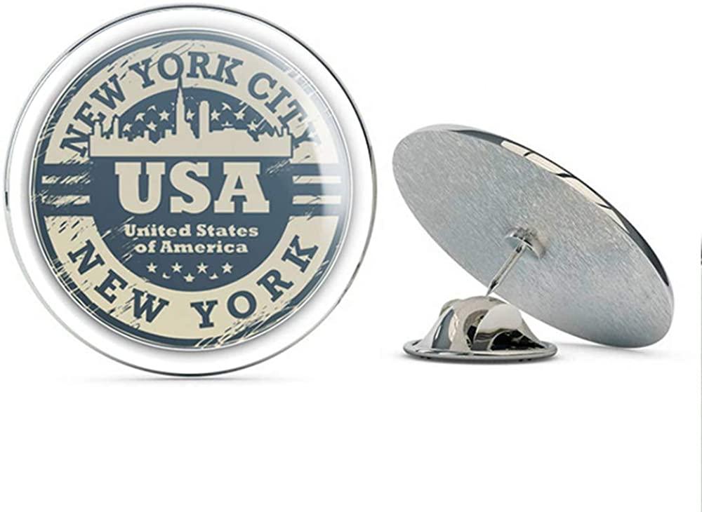 New York USA Grunge Rubber Stamp Travel Round Metal 0.75