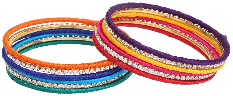 Efulgenz Fashion Jewelry Indian Bollywood Gold Plated Crystal CZ Multicolor Silk Thread Bracelet Bangle Set (12 pc)