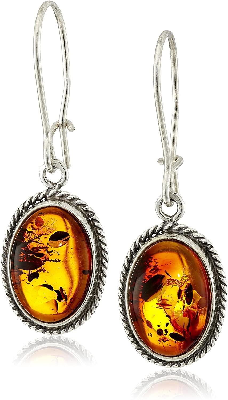 Sterling Silver Honey Amber Oval Earrings