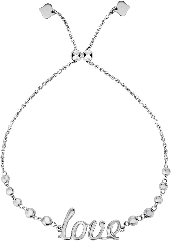 Sterling Silver Love Theme Adjustable Bolo Friendship Bracelet, 9.25