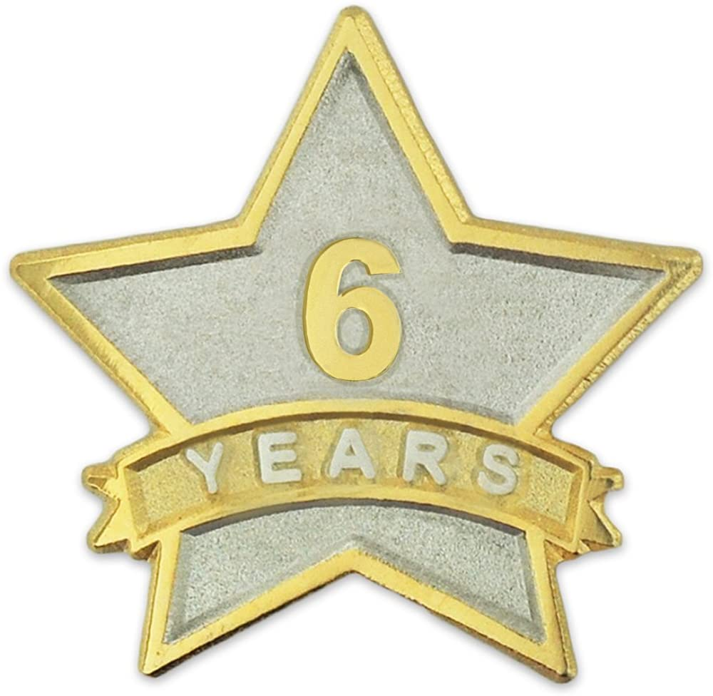 PinMart 6 Year Service Award Star Corporate Recognition Dual Plated Lapel Pin