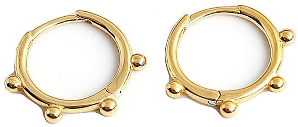 Huggie Beaded Small Sleeper Hoop Earrings for Women Girls 925 Sterling Silver Minimalist Tiny Ball Bead Stud Cuff Cartilage Helix Wrap Fashion Dainty Hypoallergenic Jewelry