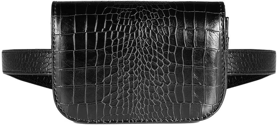 VBG VBIGER Fanny Bags for Women Waist Bag for Women PU Leather Belt Bag Fanny Pack Travel Bag Crossbody Bag 2-way Waist Bags with Adjustable Strap(Black-1))