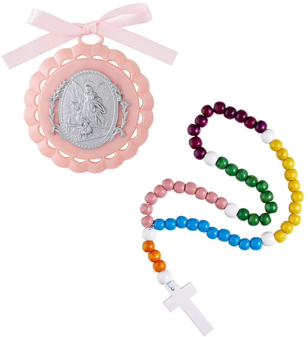 Needzo Baptism Gift Set for Babies, Pink Guardian Angel Crib Medal with Colorful Wood Rosary