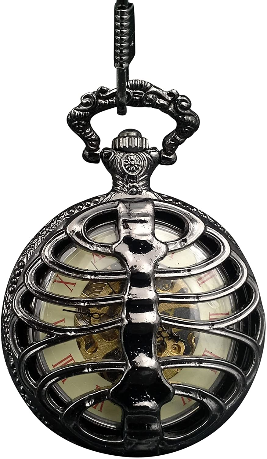 ShoppeWatch Pocket Watch Wind Up Mechanical Movement Steampunk Skeleton Dial PW-185