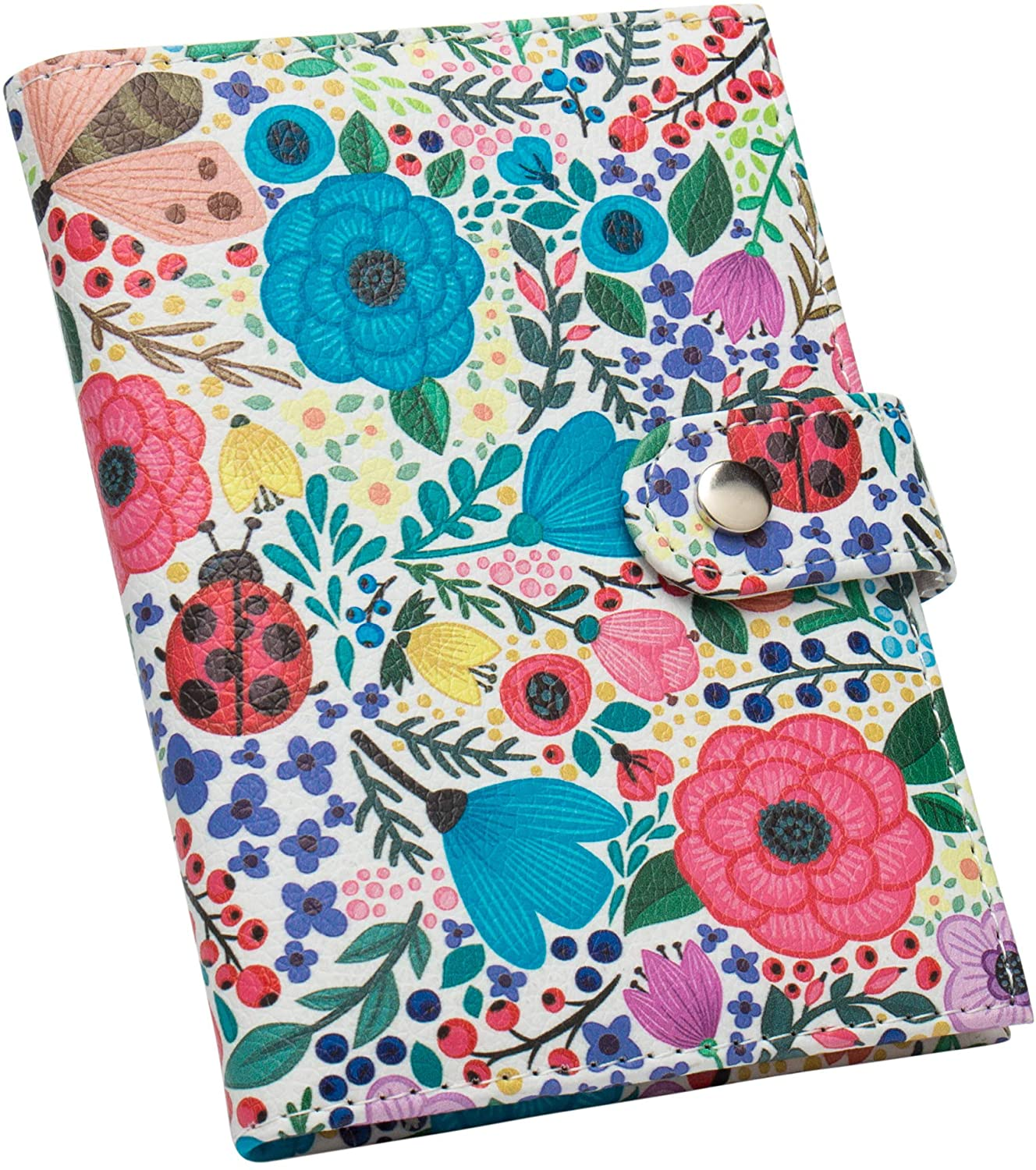 ZONGSHU Passport Holder Cover Wallet, Colorful Flower Patten Travel Luggage Passport Wallet with PU Leather