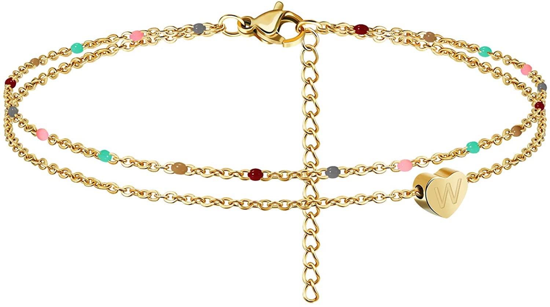 Heart Initial Ankle Bracelets for Women 18K Gold Plated Handmade Dainty Layered Colorful Beaded Letter Anklet with Heart Pendant Beach Boho Anklet Bracelet for Teen Girls
