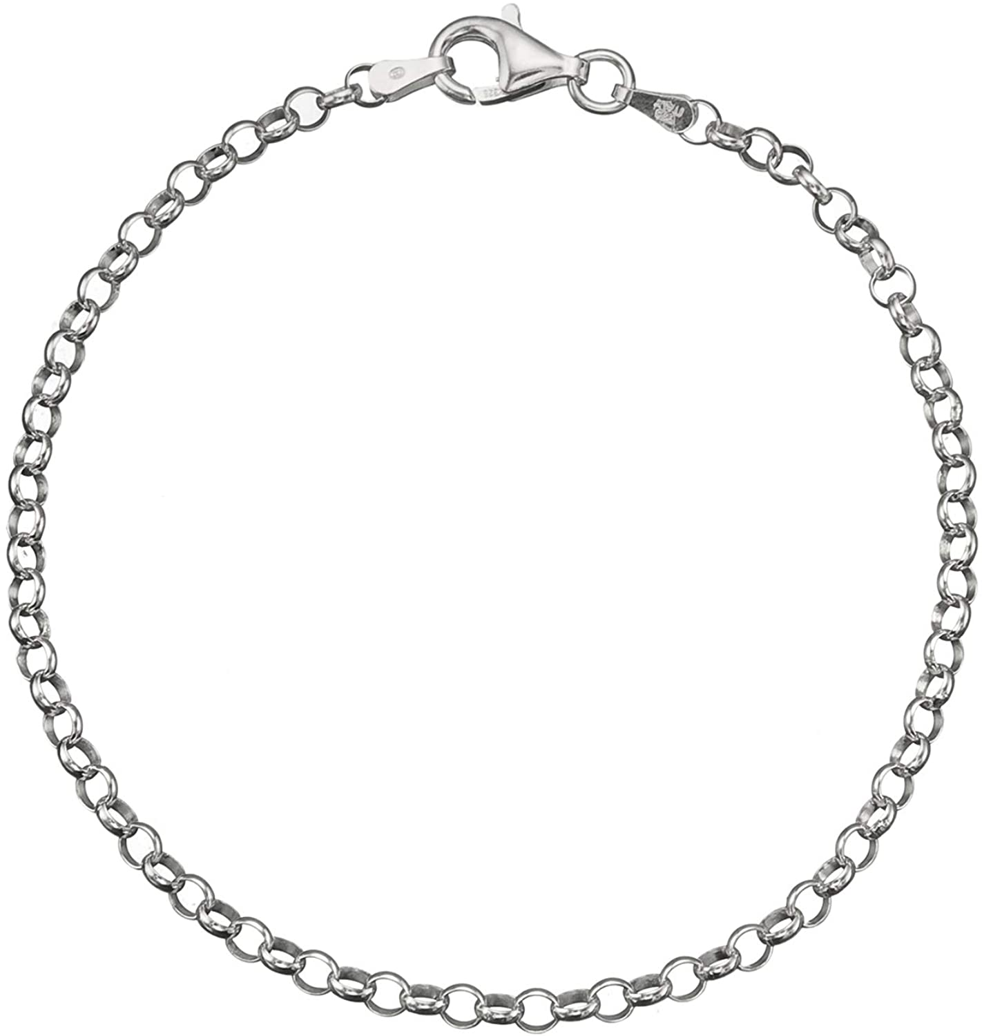 Solid 925 Sterling Silver 3.2mm Italian Round Rolo Cable Link Chain Anklet 9