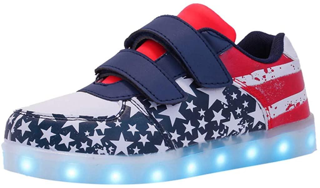 Moonker Girls Boys USB Breathable LED Luminous Walking Shoes for 3-14 Years Old Kids Children Flag Sport Shoes Sneakers