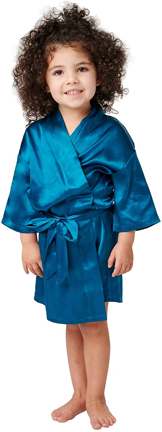 Alexander Del Rossa Girl's Satin Robe, Silky Make Up Dress Gown, 4T Ocean Depth Green (A0449ODP4T)