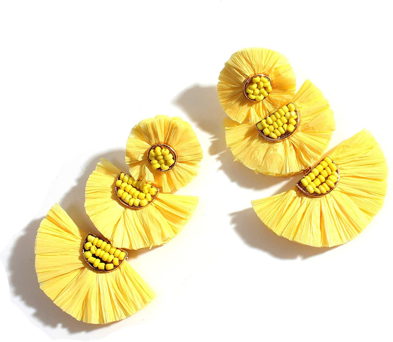 Statement Rattan Raffia Hoop Drop Earrings for Women Geometric Handmade Colorful Rainbow Earring Gift for Mother Sister Summer Wear Hoop Colorful