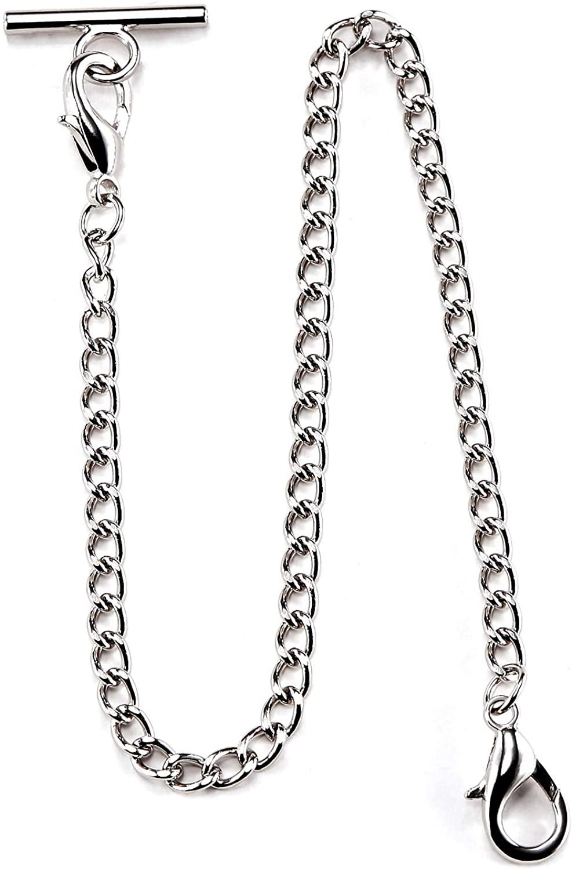 TREEWETO Pocket Watch Vest Chain 14.7 inch (37.5 cm) Silver