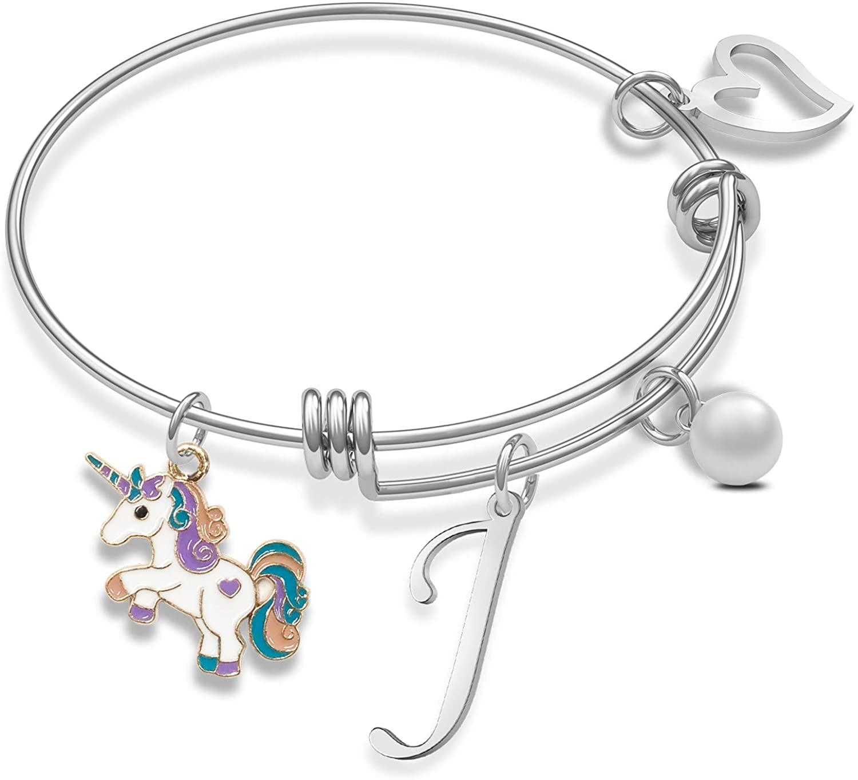 Unicorn Bracelet with Initial Unicorn Charm Initial Jewelry Unicorn Pendant Gift for Girl