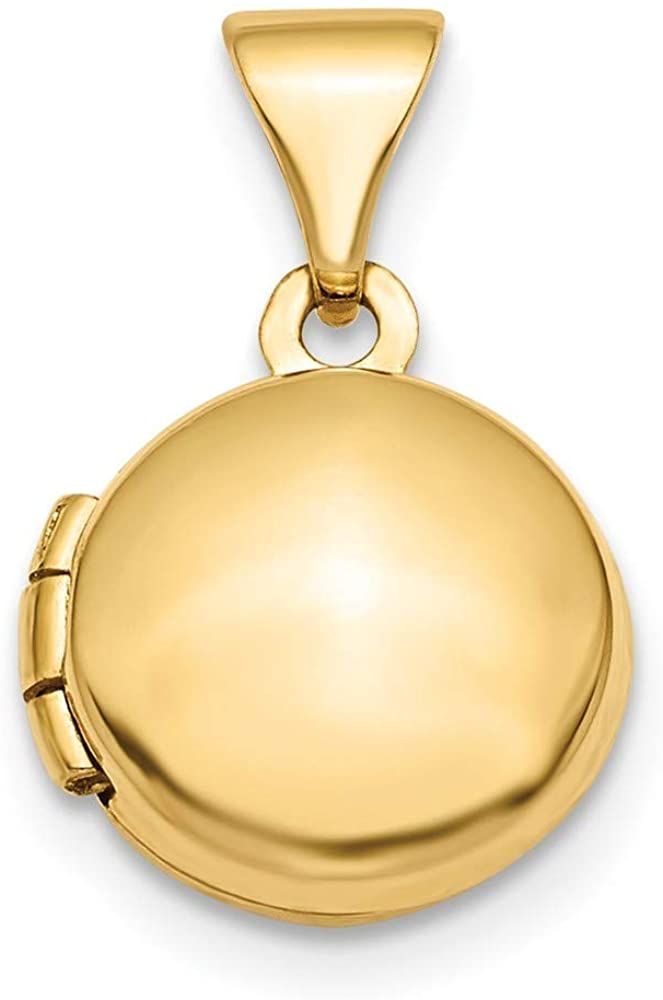 14k Polished Domed 10mm Round Photo Locket Pendant Necklace Jewelry Gifts for Women