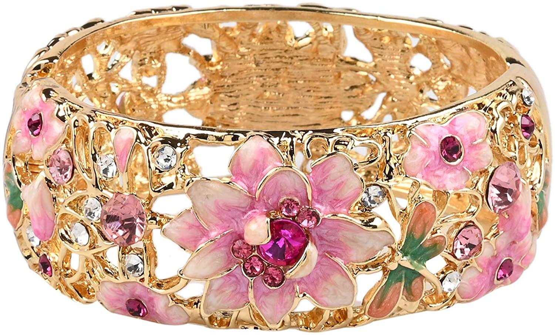 Shop LC Delivering Joy Goldtone Round Multi Color Crystal Bangle Cuff Bracelet Costume Stylish Unique Fashion Jewelry for Women Size 7